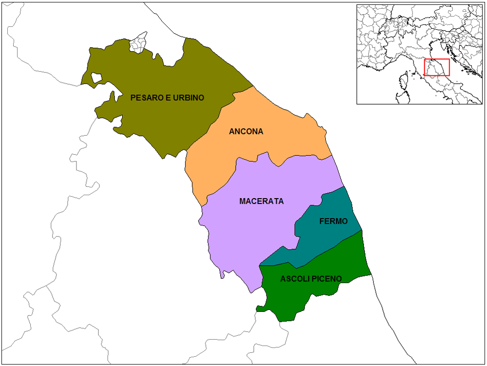 Province Map of Marche Mapsofnet