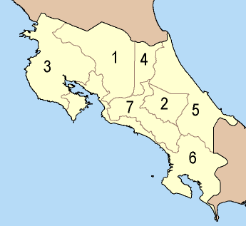 Provinces Costa Rica large map