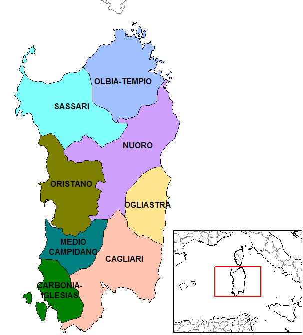 Provinces Map of Sardinia large map