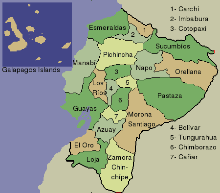 Provinces Of Ecuador Mapsofnet - Ecuador provinces map