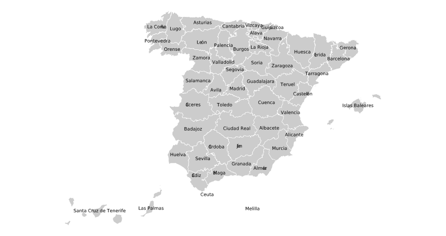 Provinces of Spain Mapsofnet