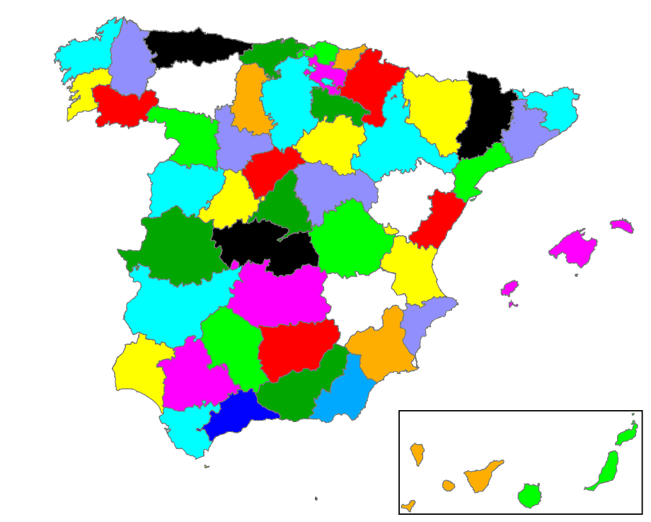 Provinces of Spain No Names Mapsofnet