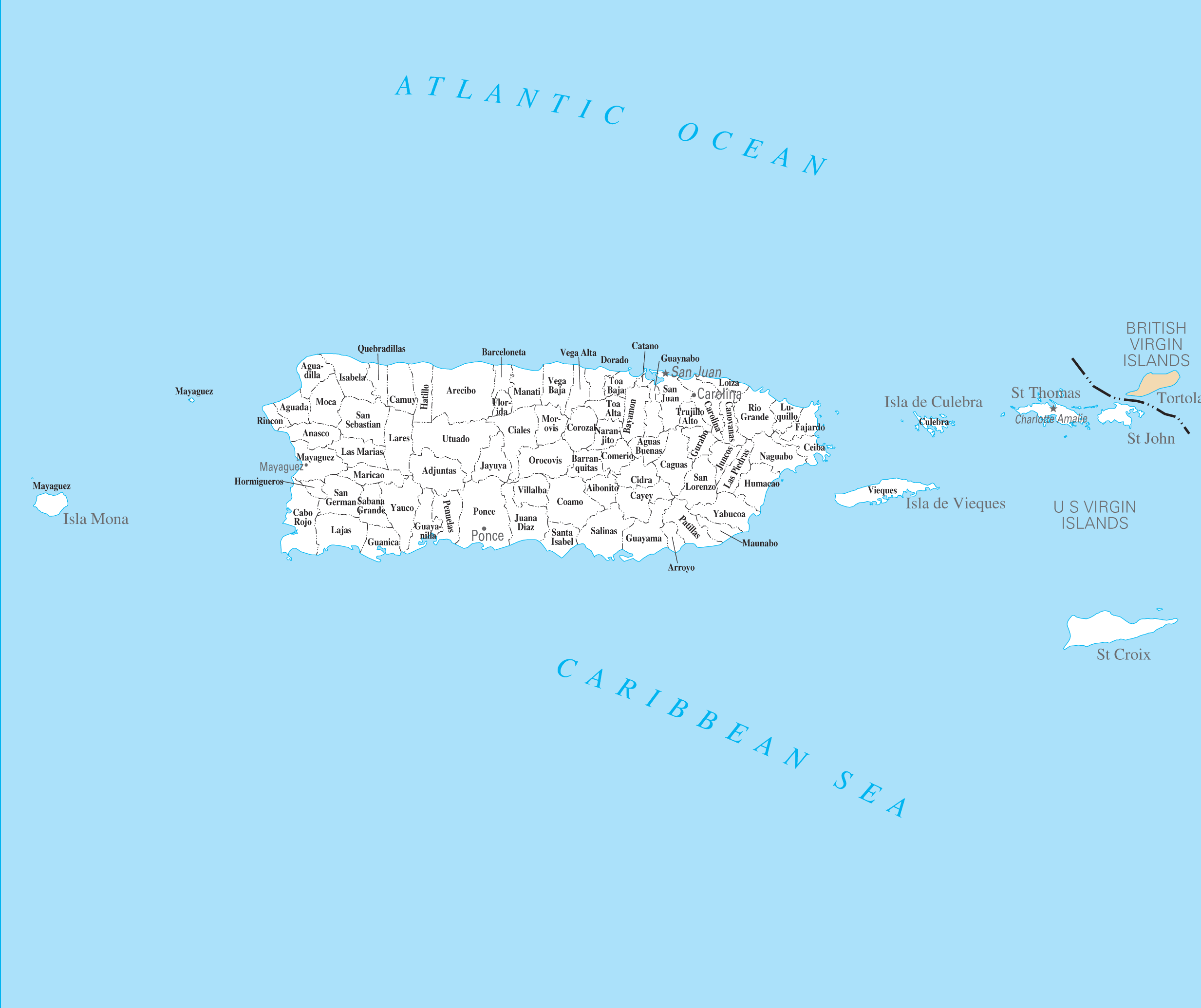 Puerto Rico Cities And Towns large map