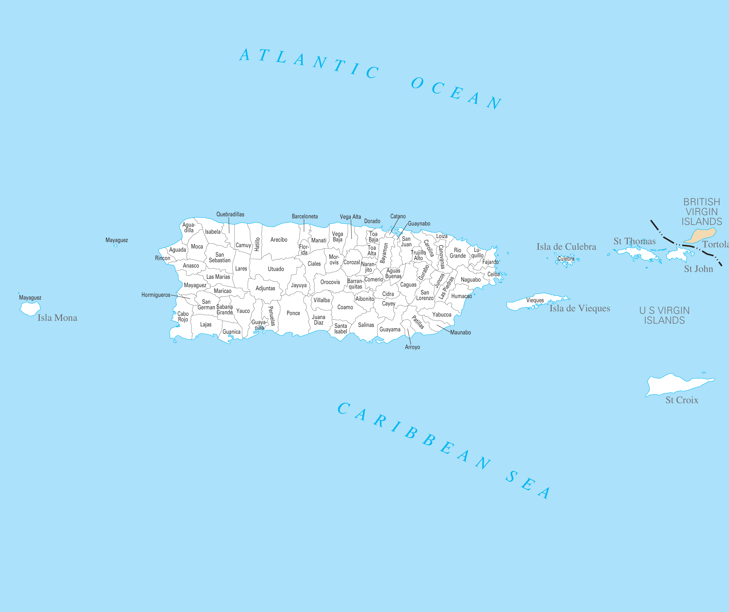 Puerto Rico County Map large map