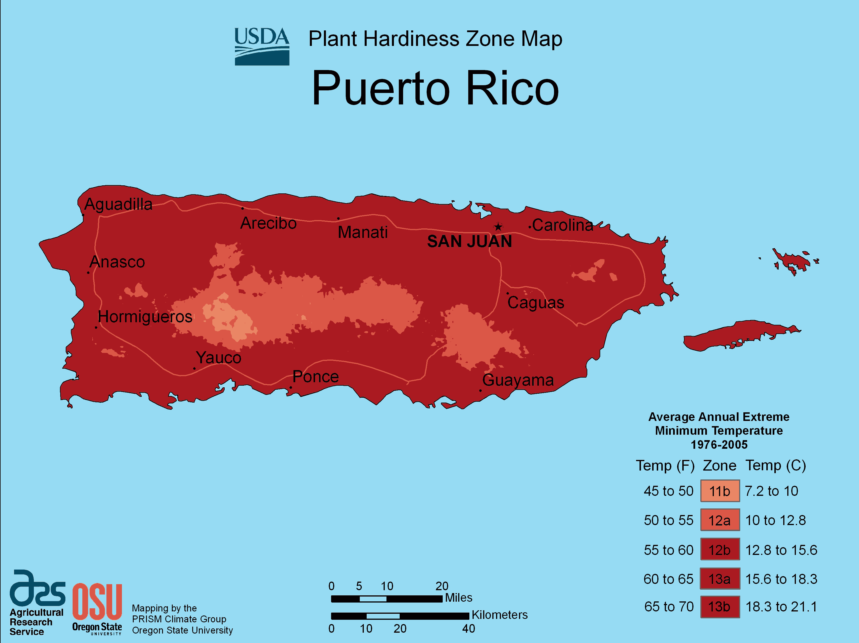 Puerto Rico Plant Hardiness Zone Map large map