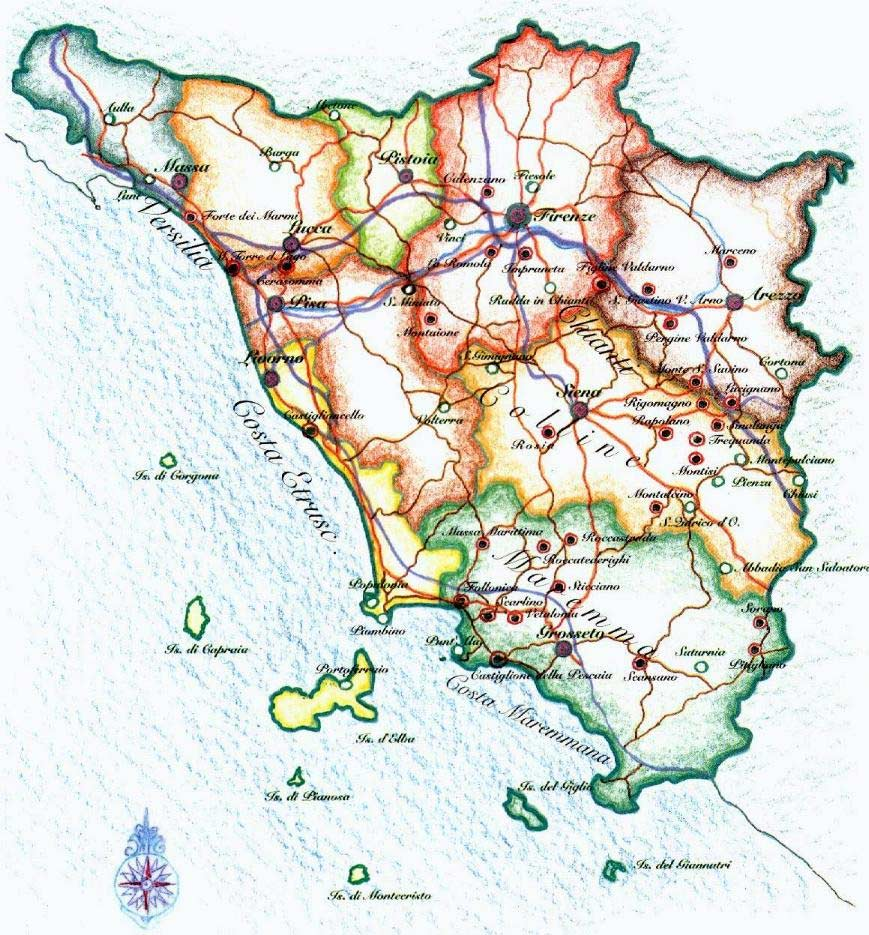 Pysical Map Tuscany Mapsofnet - Map tuscany