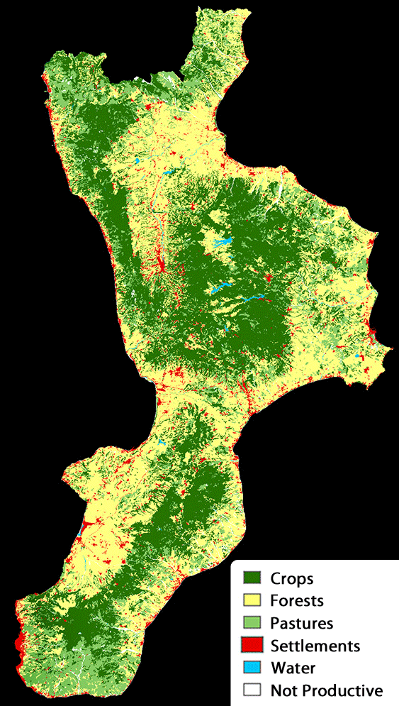 Pysical Map of Calabria large map