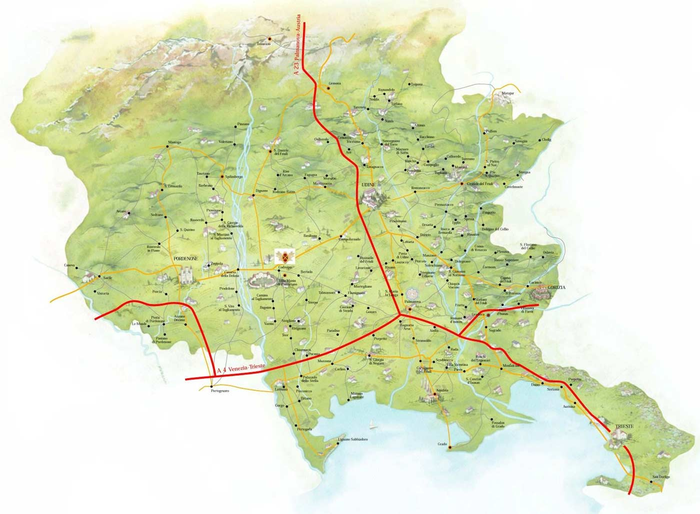 Pysical Map of Friuli Venezia Giulia large map