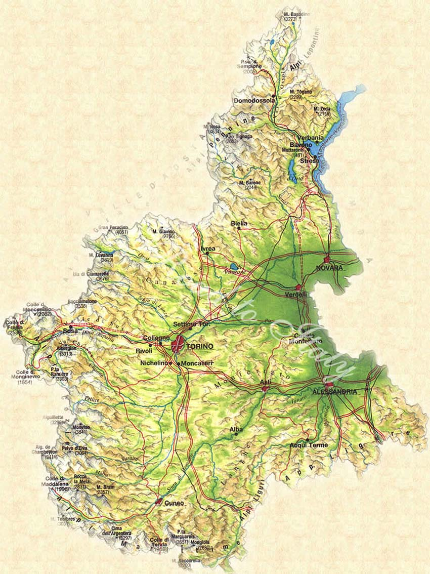 Pysical Map of Piedmont large map