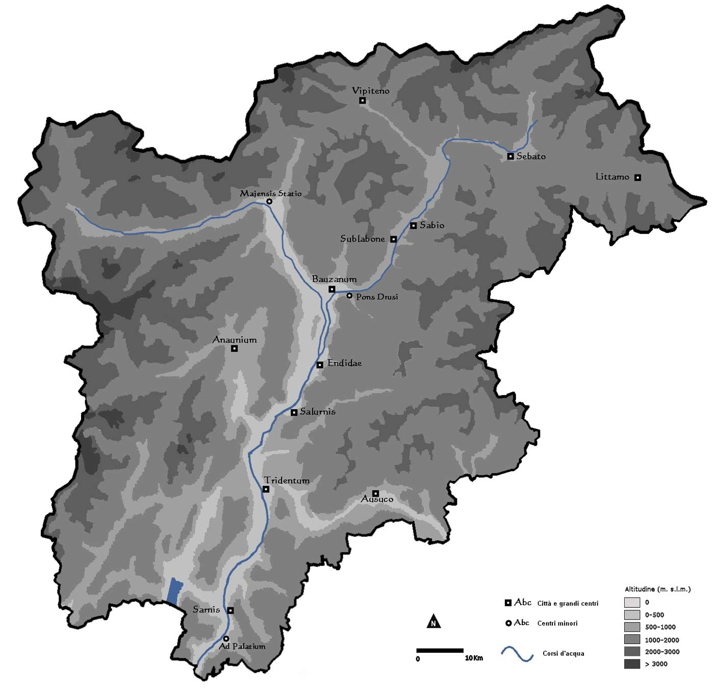 Pysical Map of Trentino Alto Adige large map