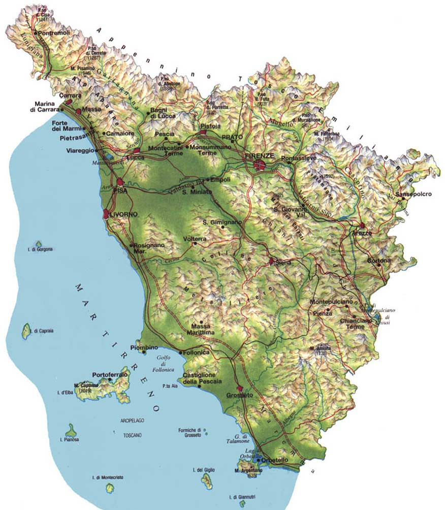Pysical Map of Tuscany large map