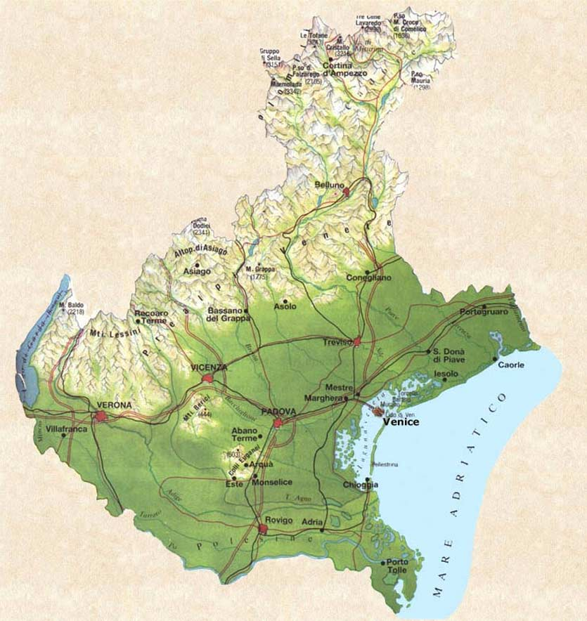 Pysical Map of Veneto large map