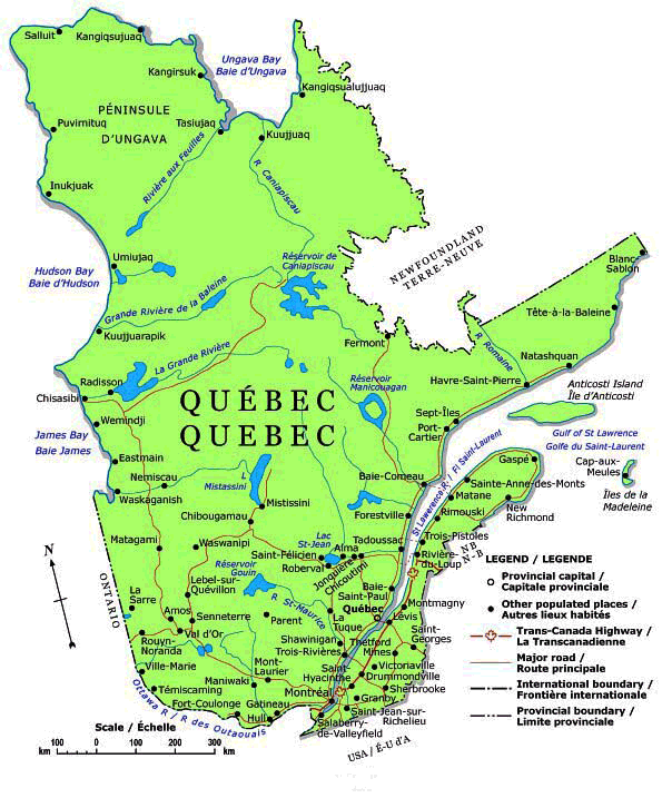 quebec map. Black Bedroom Furniture Sets. Home Design Ideas
