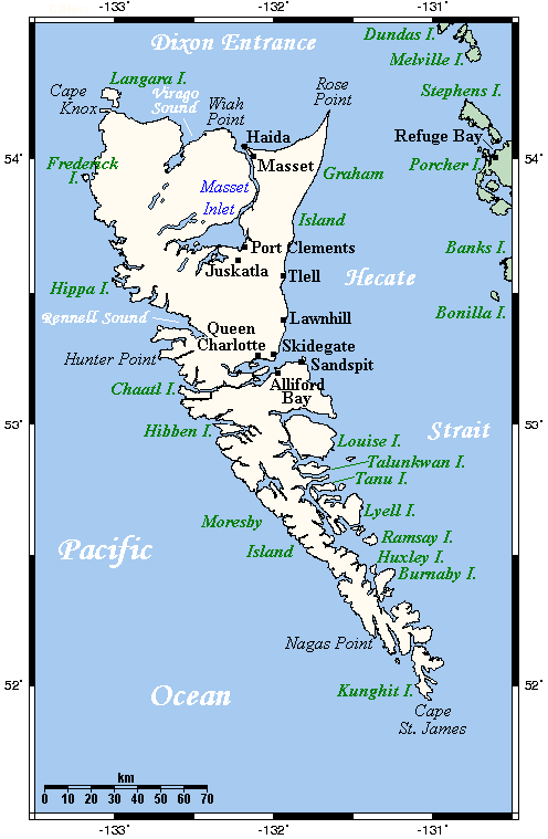 Queen Charlotte Islands Map large map