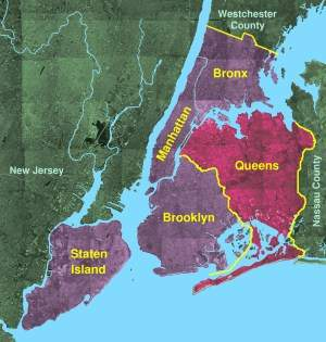Queens Borough, New York large map