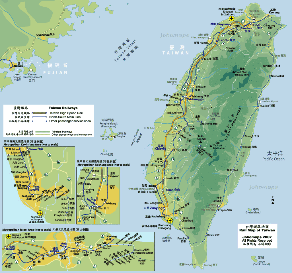 Rail Map of Taiwan large map
