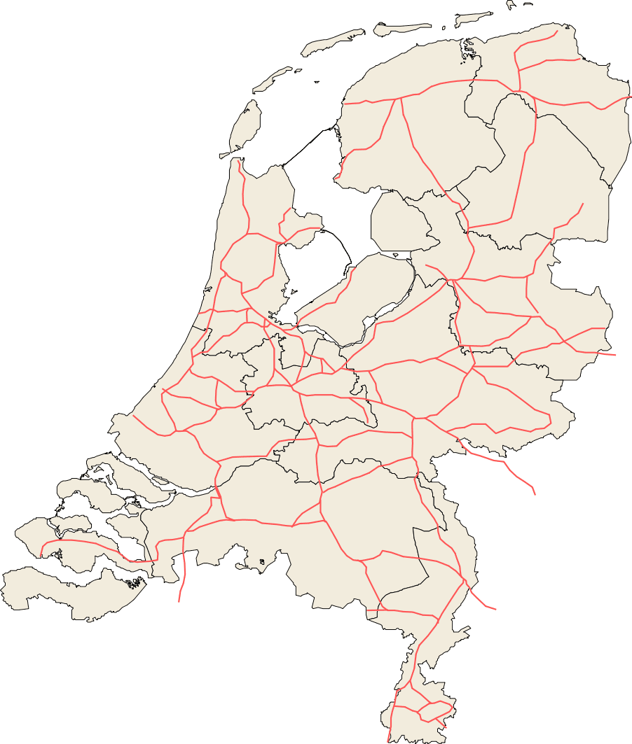 Railroads Netherlands large map