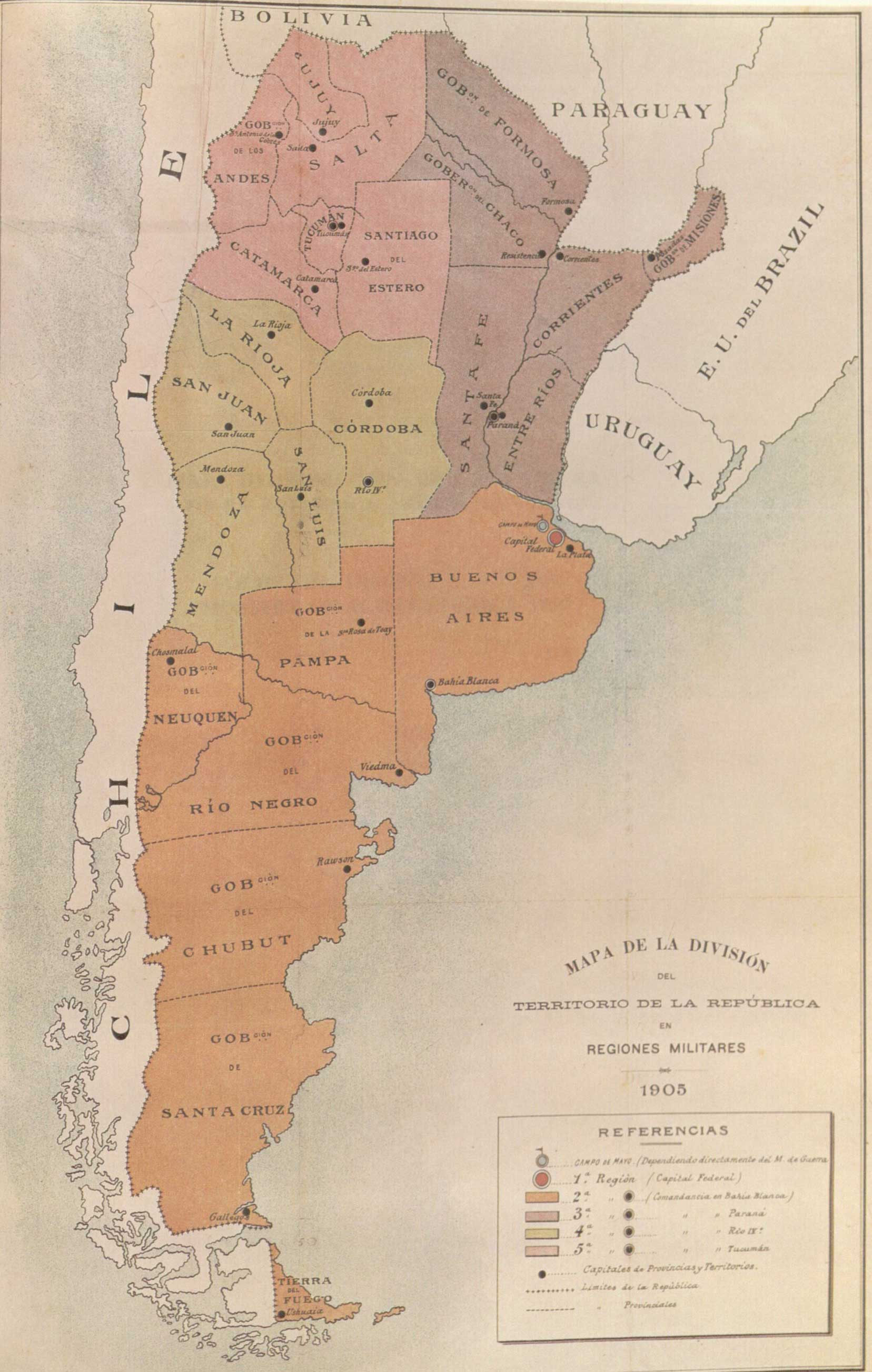 Regiones Militares Arg 1905 large map