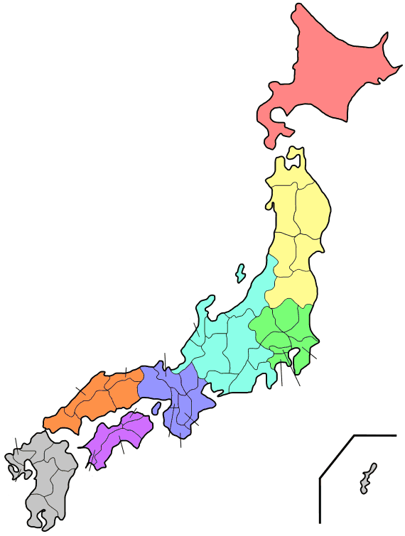 Regions And Prefectures of Japan 2 large map