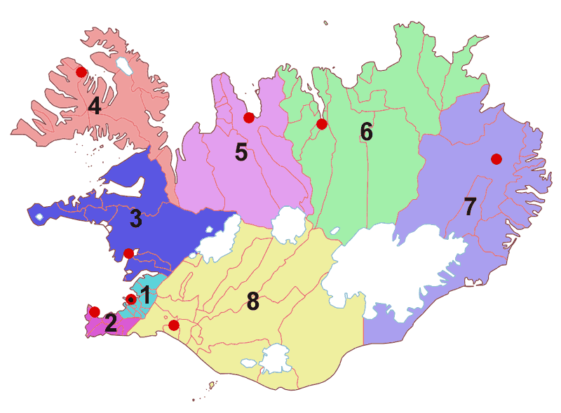 Regions of Iceland large map