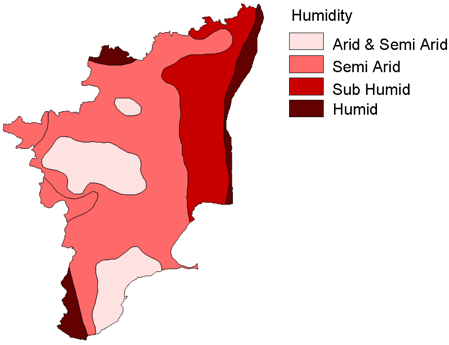 Relative Humidity Map Tamil Nadu large map