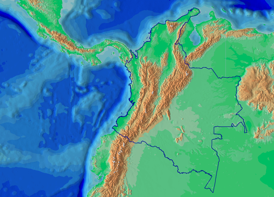 Relieve Colombia large map