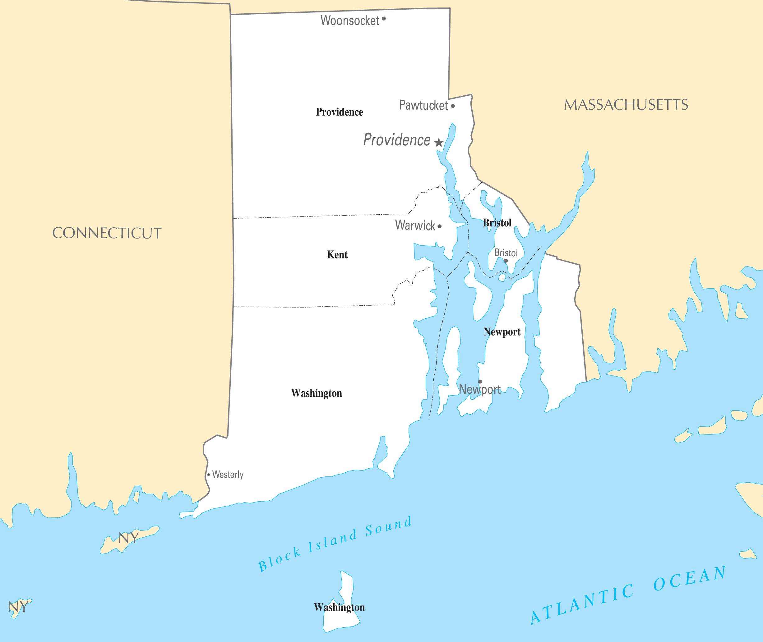 Rhode Island Cities And Towns large map