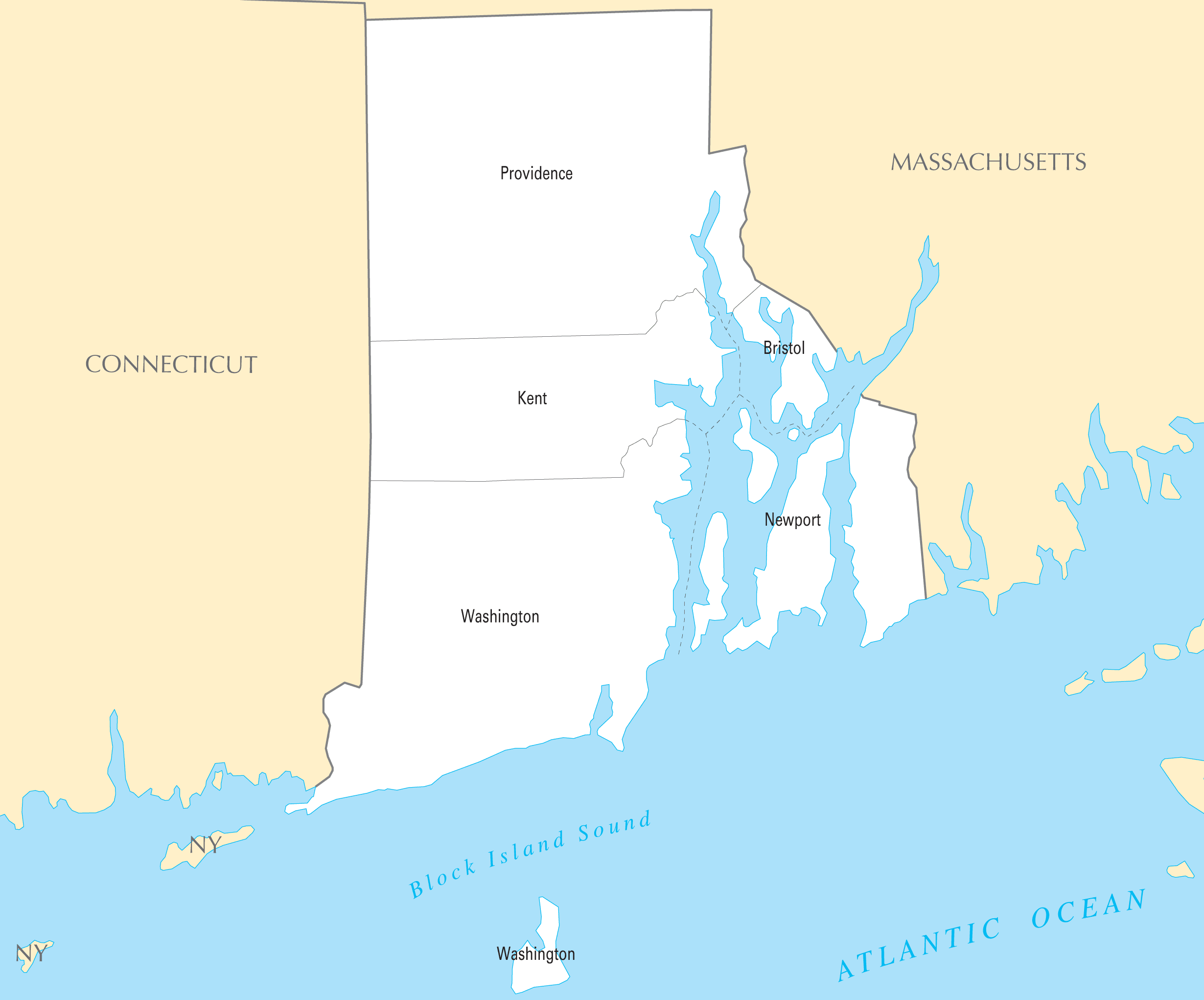 Rhode Island County Map large map