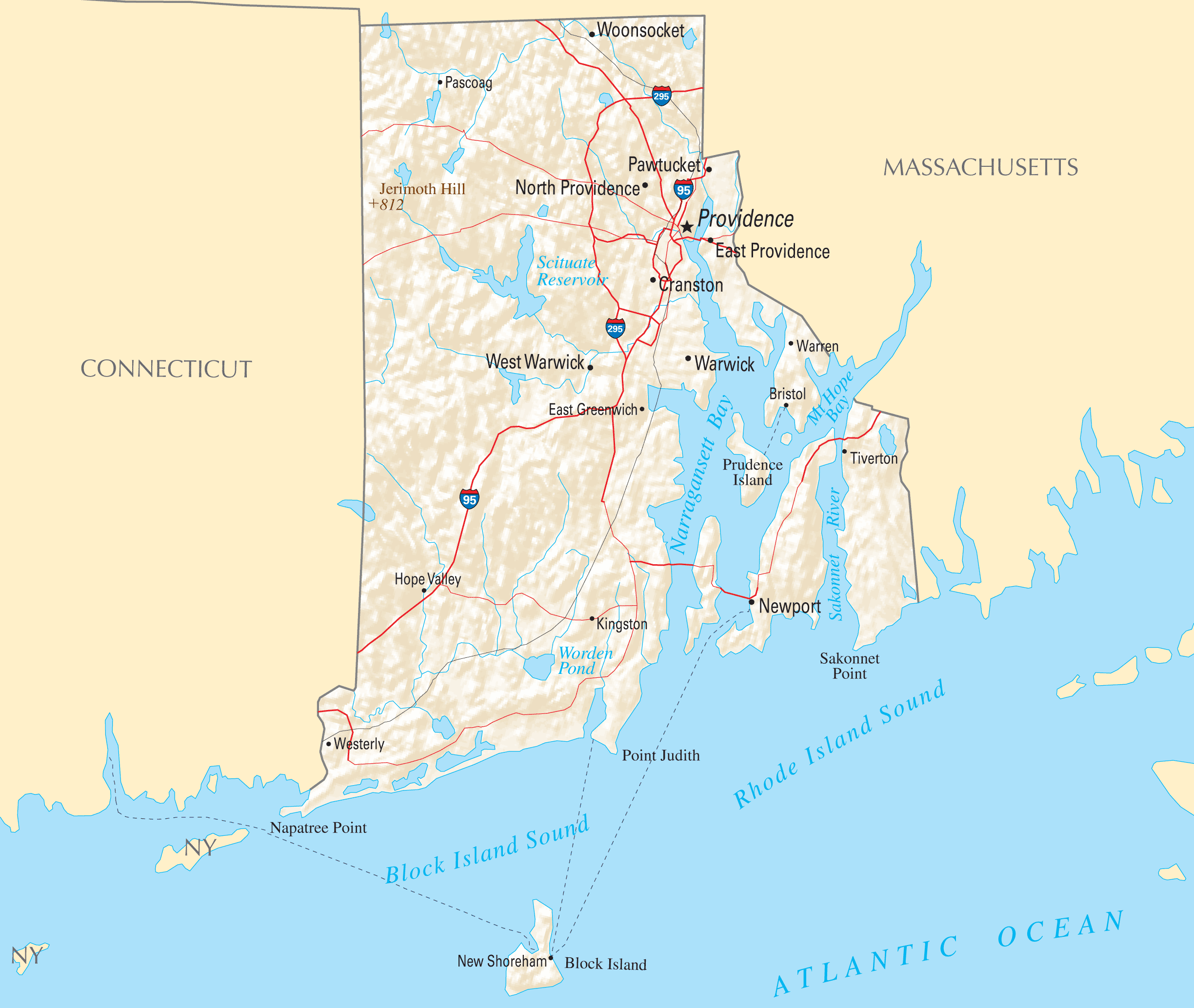 Where Is Rhode Island Located Mapsofnet - Rhode island physical map