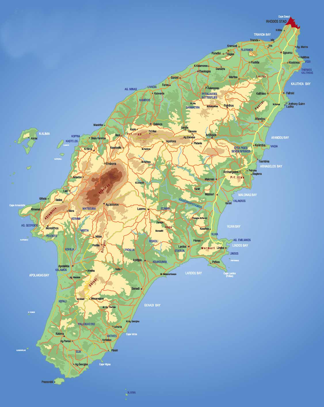Rhodes Island Map large map