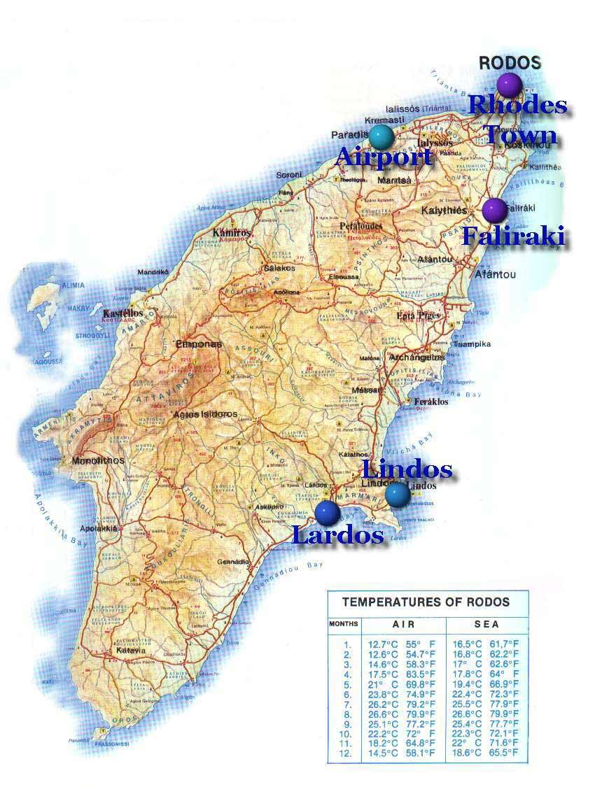 Rhodes Touristic Map large map