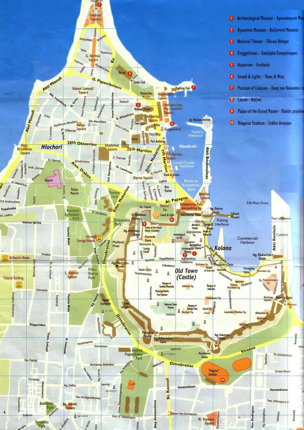 Rhodes Town Street Map large map