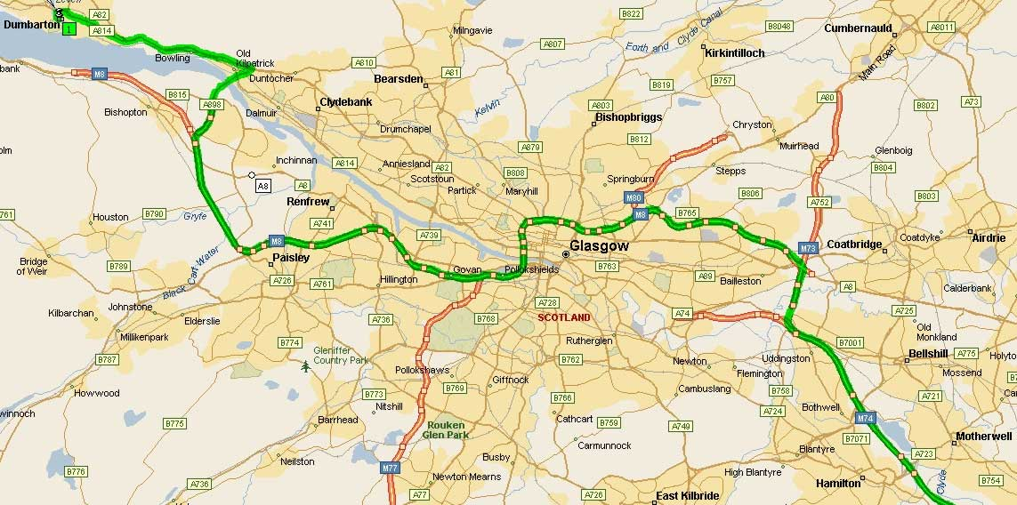 Road Map of Glasgow large map