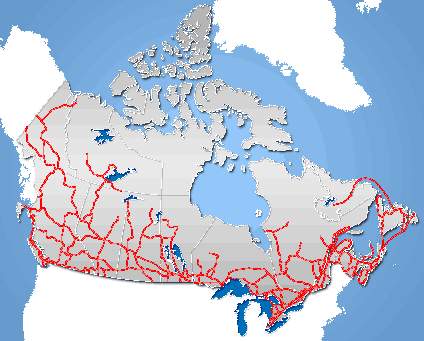 roads canada frame large map