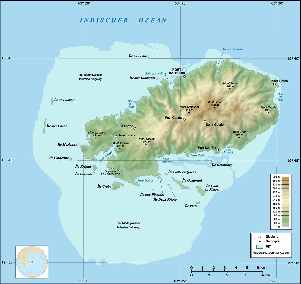 Rodrigues Island Topographic Map De large map
