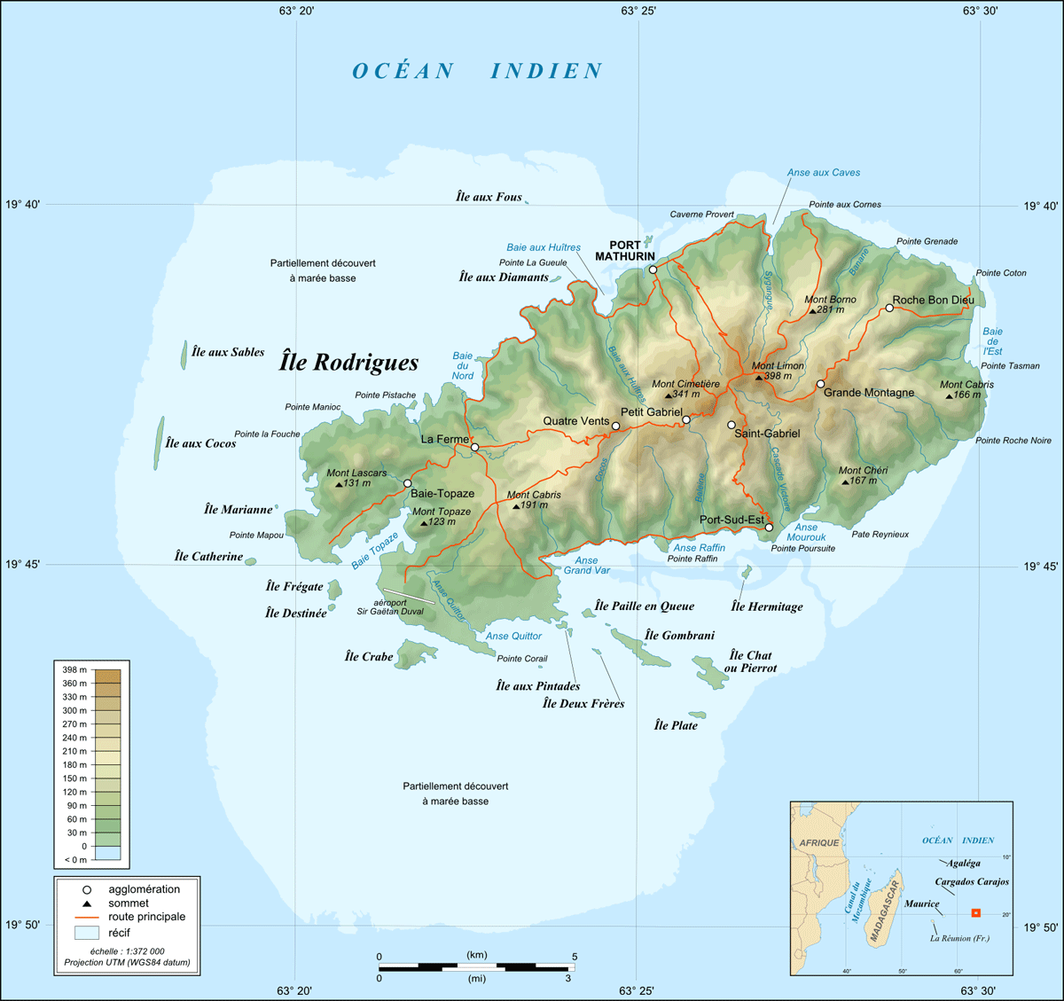 Rodrigues Island Topographic Map Fr large map
