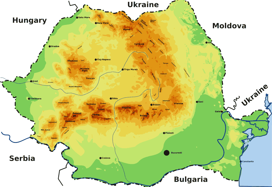 Romanian Mountains large map