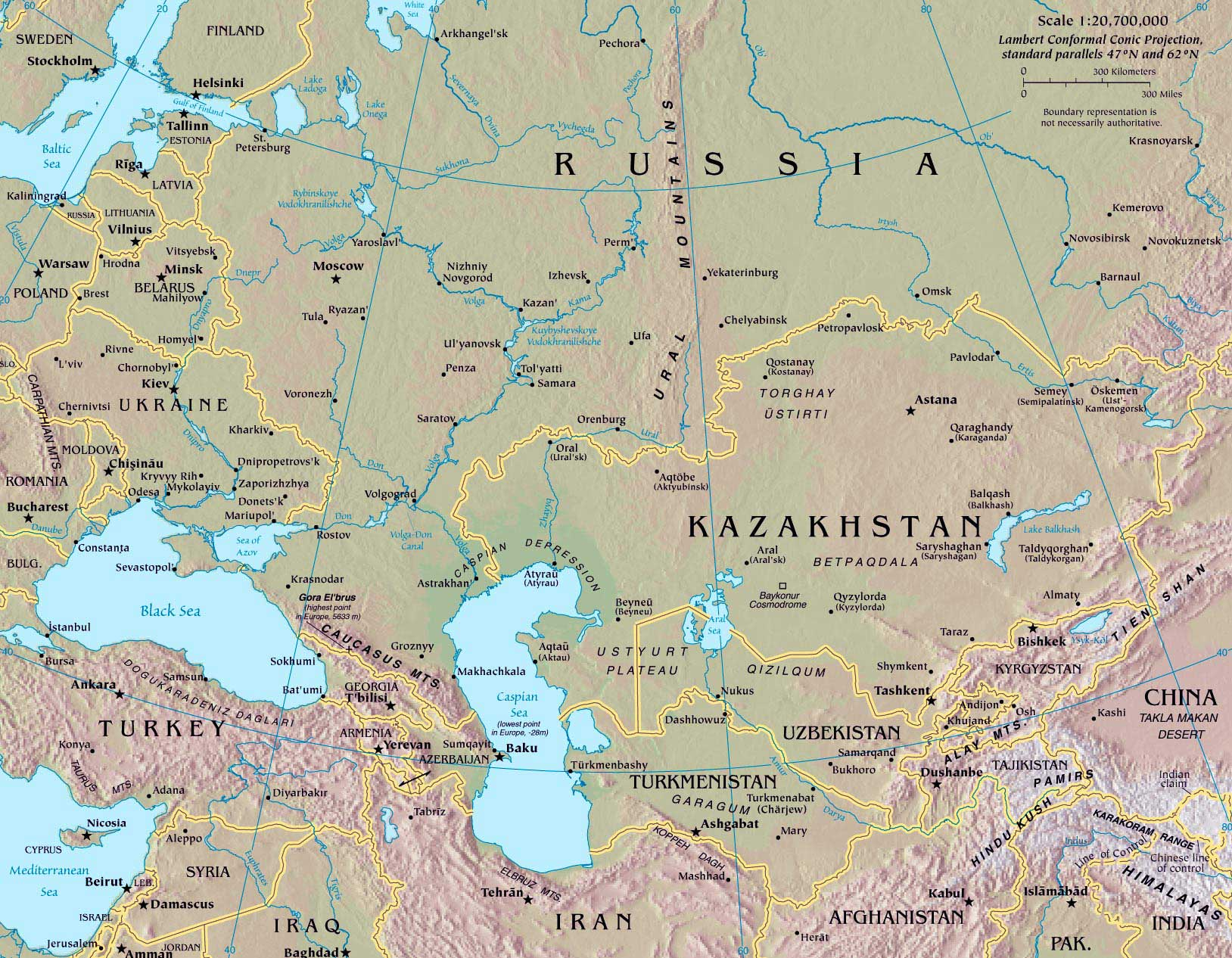 Russia And Central Asia Map large map