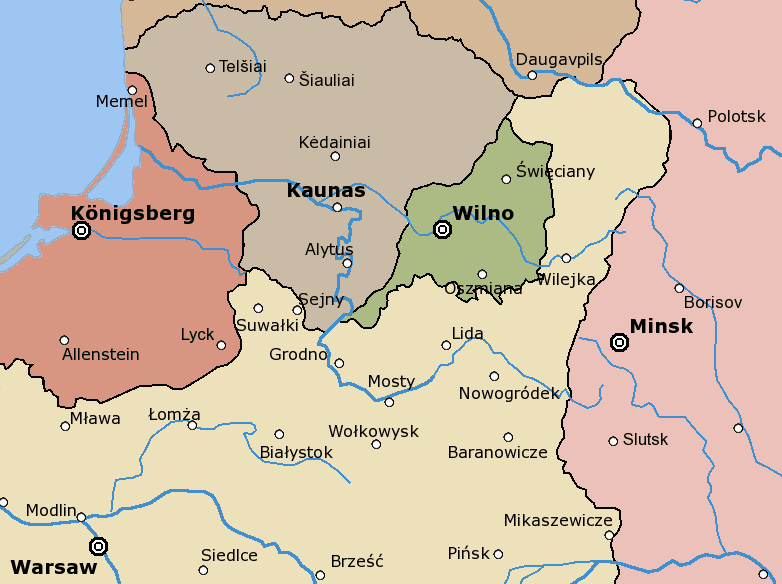 Rzeczpospolita Central Lithuania large map