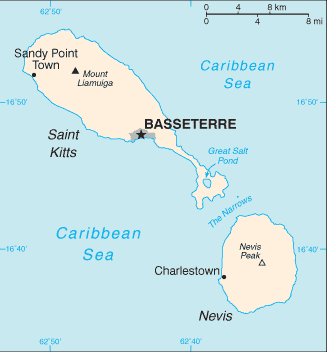 Saint Kitts And Nevis Cia Wfb Map large map
