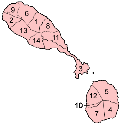 Saint Kitts And Nevis Parishes Numbered large map