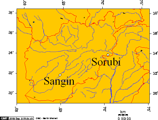 Sangin And Sorubi, Afghanistan large map