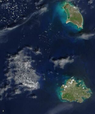 Satellite Image of Antigua And Barbuda In September 2002 large map