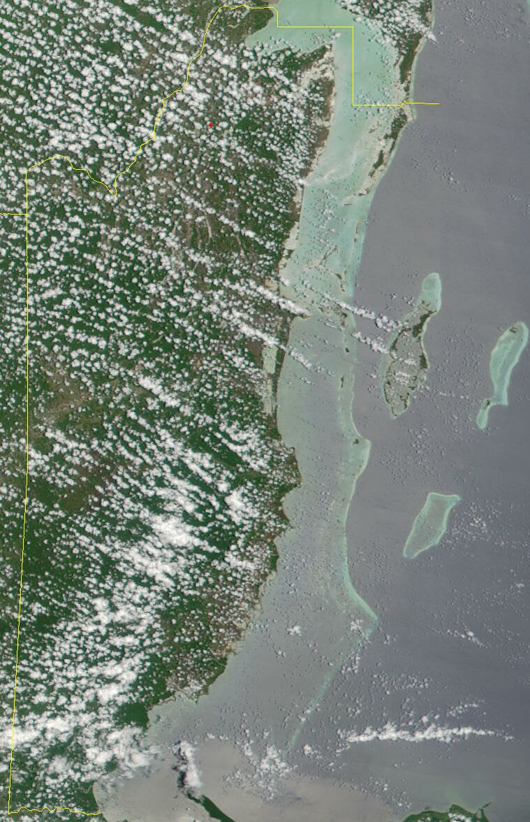 Satellite Image of Belize In May 2001 large map