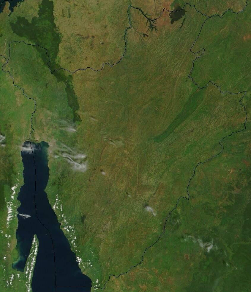 Satellite Image of Burundi In February 2003 large map