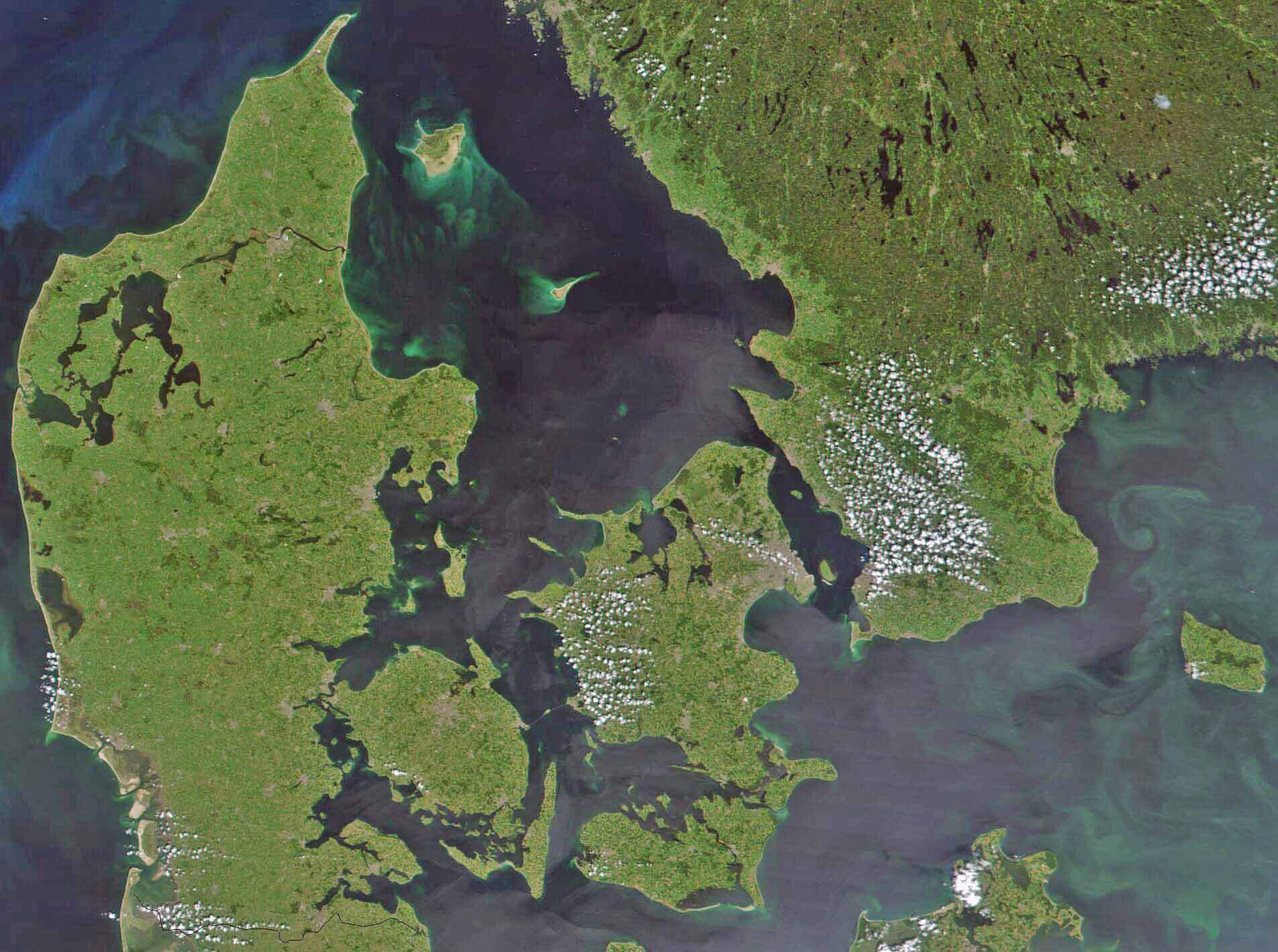 Satellite Image of Denmark In July 2001 large map