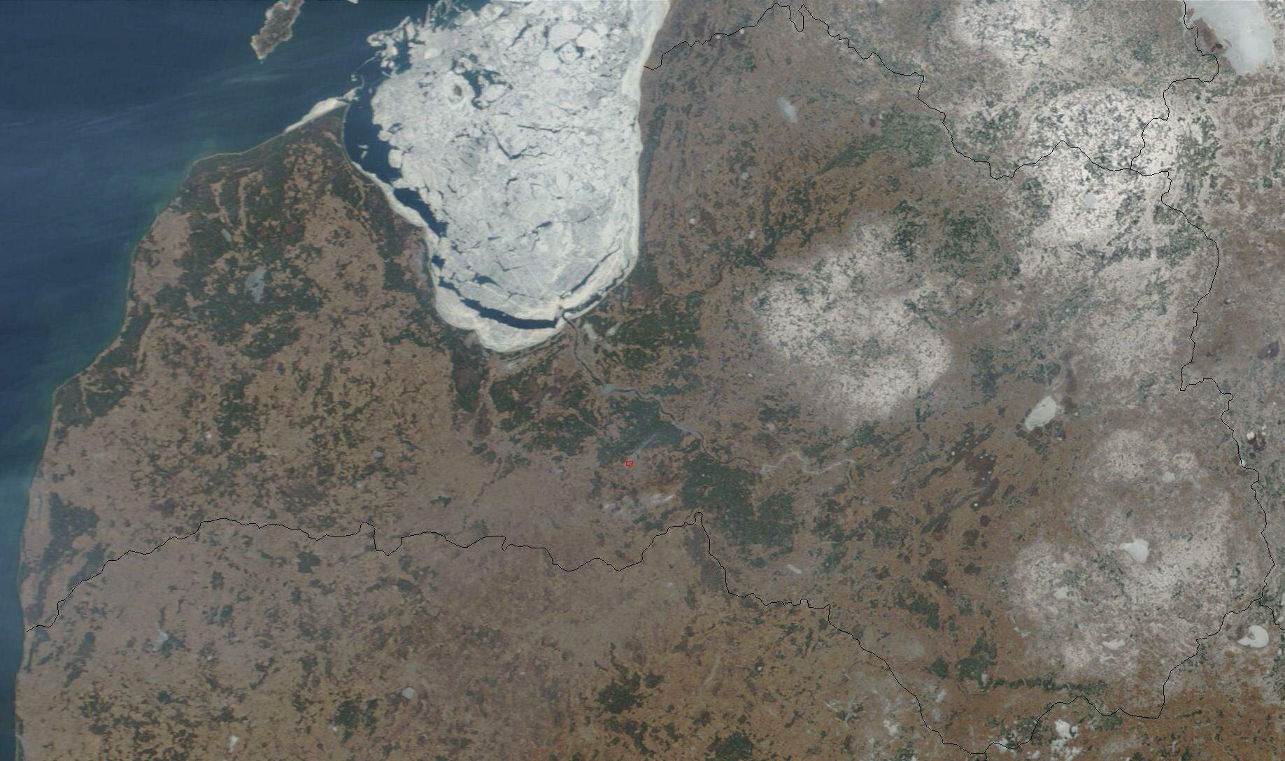 Satellite Image of Latvia In March 2003 large map