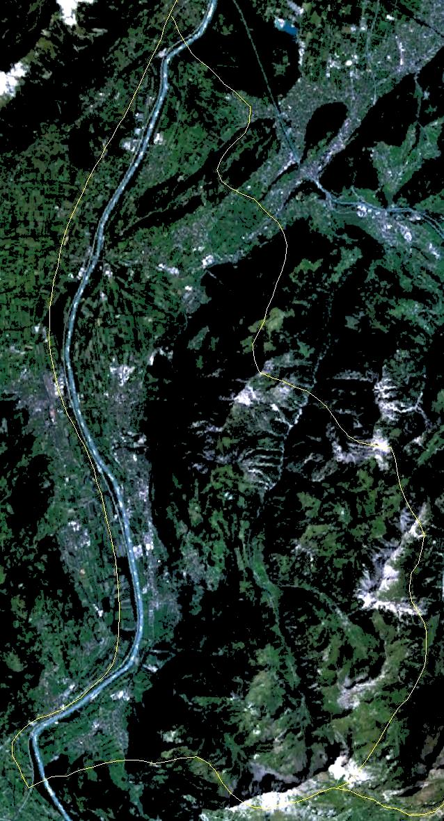Satellite Image of Liechtenstein On Landsat 7 large map