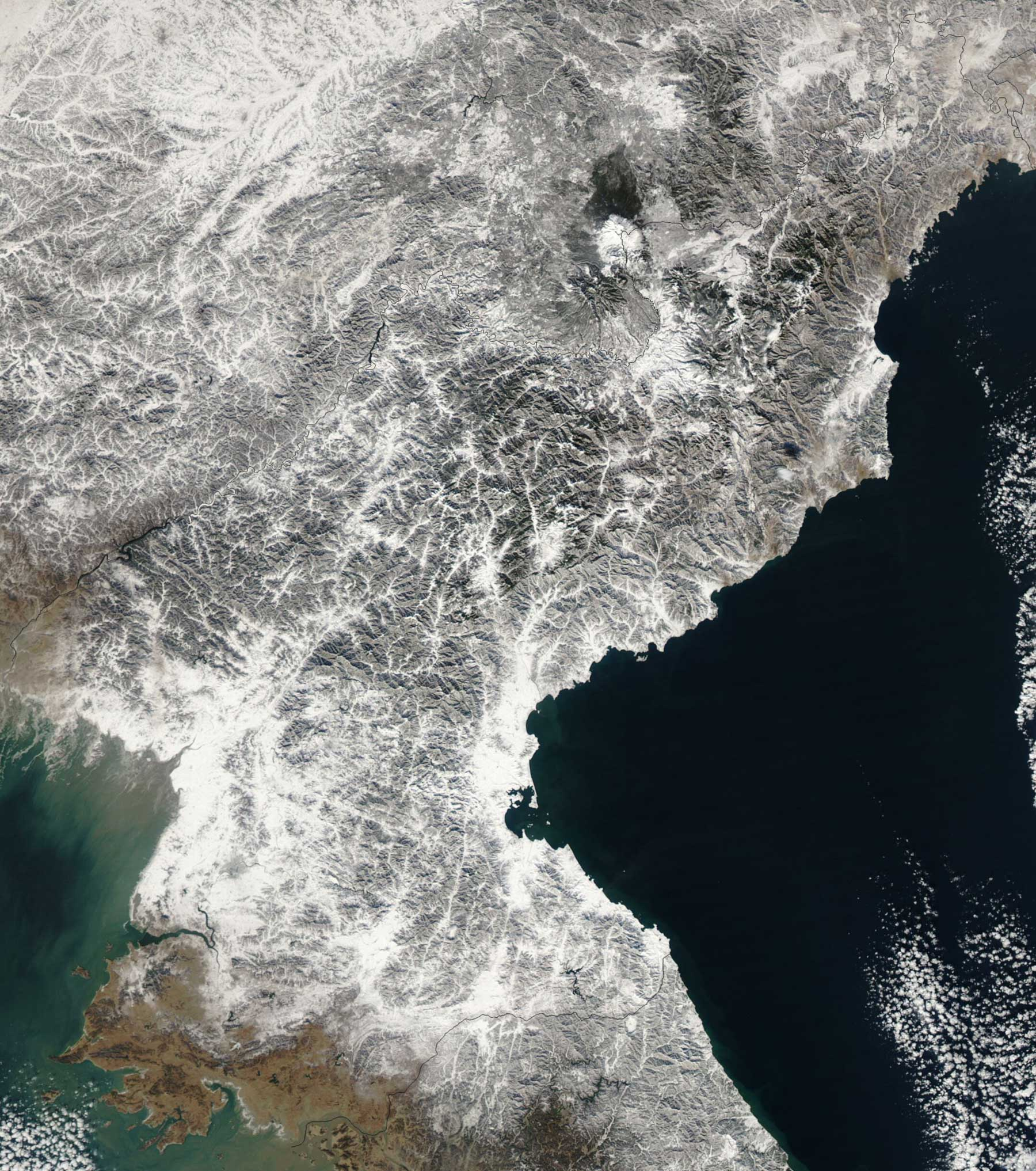 Satellite Image of North Korea In December 2002 large map