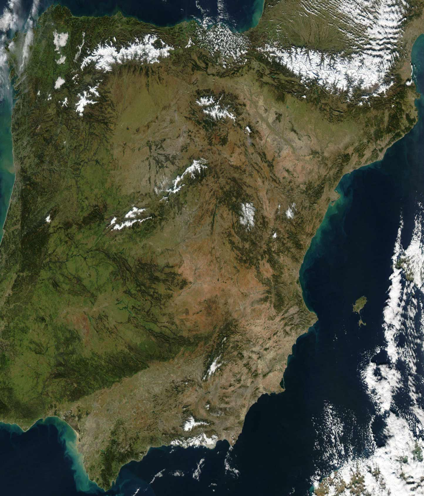 Satellite Image of Spain In January 2003 large map